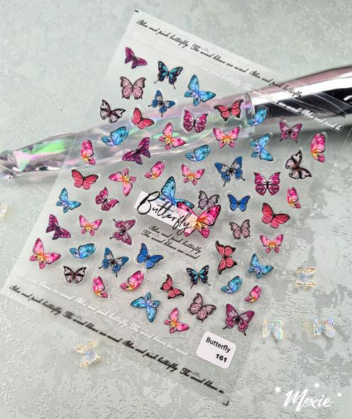 Moxie Ultra Thin Flexible Nail Art Stickers - 5D Colourful Butterflies