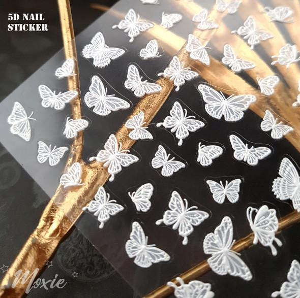 Moxie Ultra Thin Flexible Nail Art Stickers - 5D White Butterflies