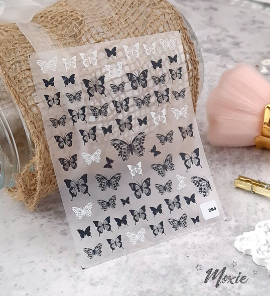 Moxie Ultra Thin Flexible Nail Art Stickers - Intricate Black & White Butterfly Nail Stickers