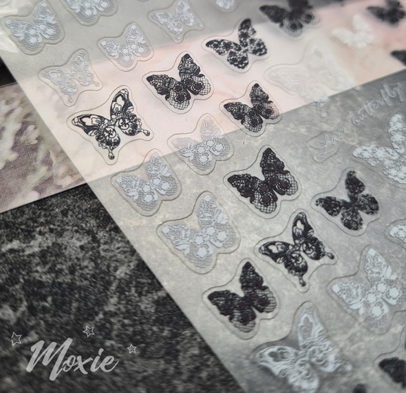 Moxie Ultra Thin Flexible Nail Art Stickers - Lace Black & White Butterfly Nail Stickers