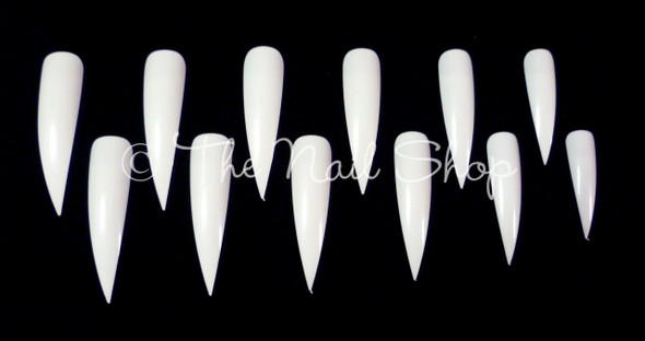 Extra Long White Pointed Claw Nail Tips (5cm) - New Pack of 24PCS