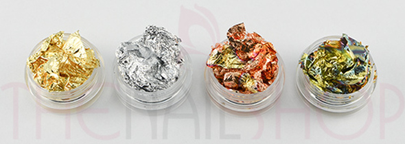 Ultra Thin Nail Art Nail Foil Leafing in Pots (Available in Silver, Gold, Bronze, Green/Gold)