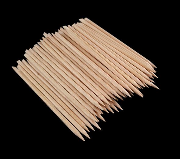 Disposable Pointed & Flat End Orange Wood Mini Manicure Cuticle Sticks (100PCS) - 11.5cm