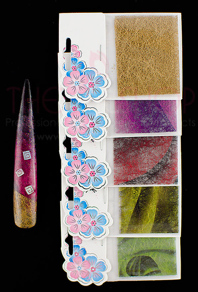 Coloured Nail Art Silk for Embedding (Singles or Set of 6)