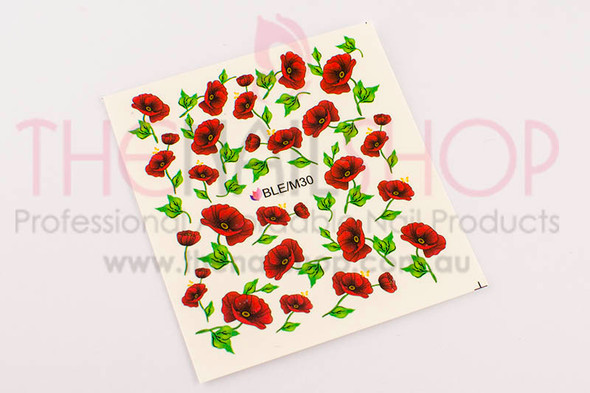 Open Red Poppy Nail Tattoos (Water Decals) - Great for Rememberance Day!