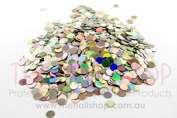 Round Silver Holographic Laser Glitter (4mm) - 10ml Pot or Bag