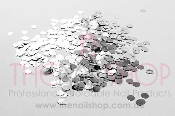 Round Silver Glitter Confetti Dot for Nail Art (4mm) - 10ml Pot