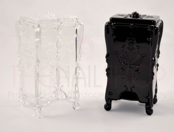 Butterfly Nail Wipe/Pad Storage Box Holder (Black or Clear)