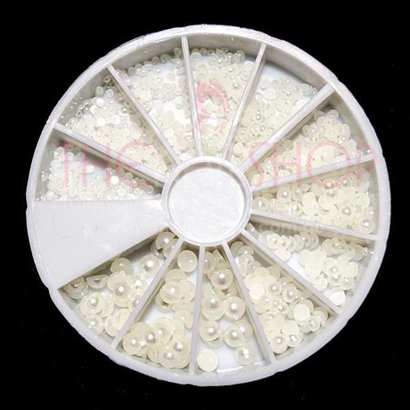 Nail Art Flat Back Ivory Pearl Bead Wheel 720PCS (Sizes:1.5mm, 2mm, 3mm, 4mm)