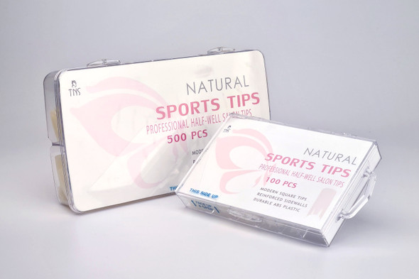 TNS Sports Natural Half-Well Nail Tips (Box of 100PCS or 500PCS)