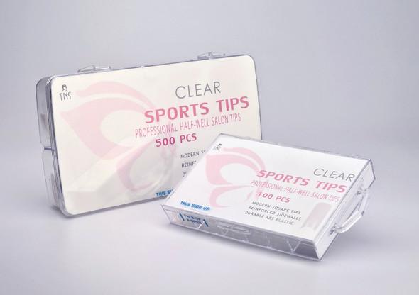 TNS Sports Clear Half-Well Nail Tips (Box of 100PCS or 500PCS)