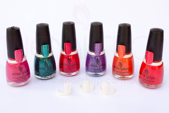 Tip rings displayed on China Glaze Summer Days Collection.