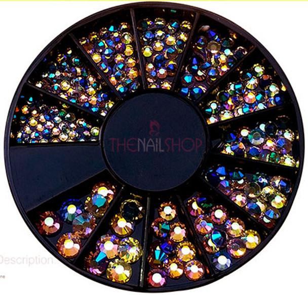 Peacock Rainbow Crystal Flatback Rhinestone Wheel - 240PCS (1mm-5mm)