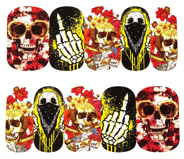 Naughty Skulls Day of the Dead Nail Art Stickers (Water Decals) - Great for Halloween!
