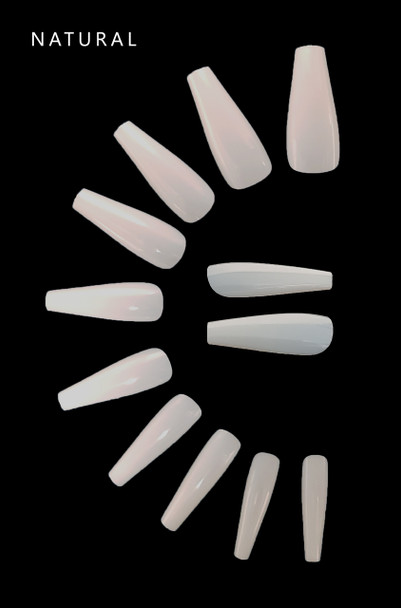 NEW Professional Ballet Coffin Full Cover Nail Tips - Natural (Bag of 500PCS)