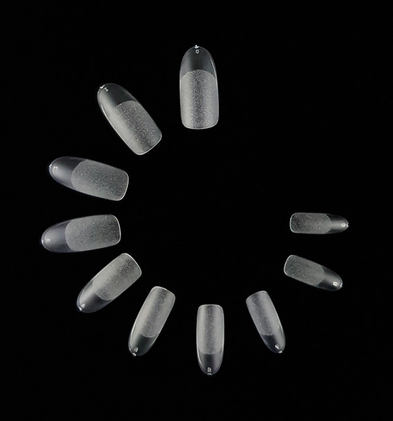 Full Cover Clear Matte & Etched Oval Nail Tips (Bag of 500PCS, 10 Sizes)