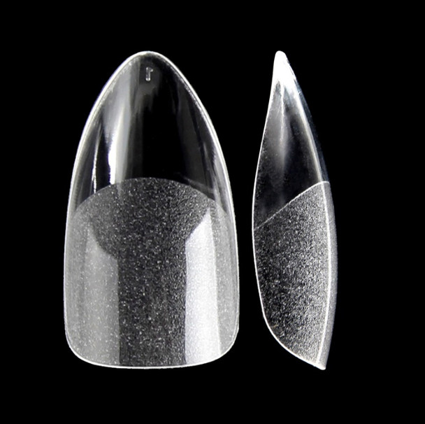 Short Oval Cusp Clear Full Cover Etched Press On Nail Tips (Bag of 500PCS, 10 Sizes)
