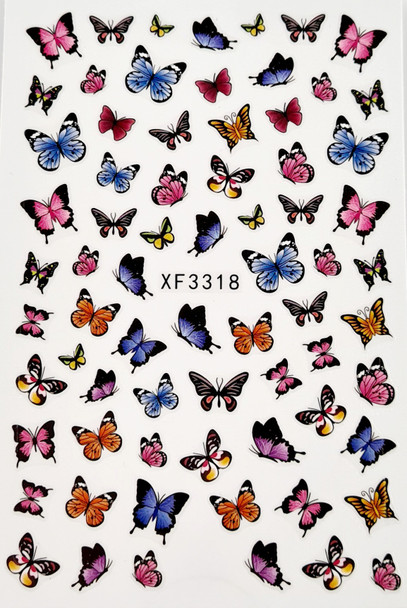 Modern Coloured Butterfly Nail Stickers (Ultra Thin Peel & Stick)