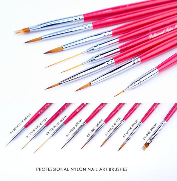 8PCS X Professional Nylon Nail Art Brush Set (Liners, Detailers, Stripers, Ombre Brush)