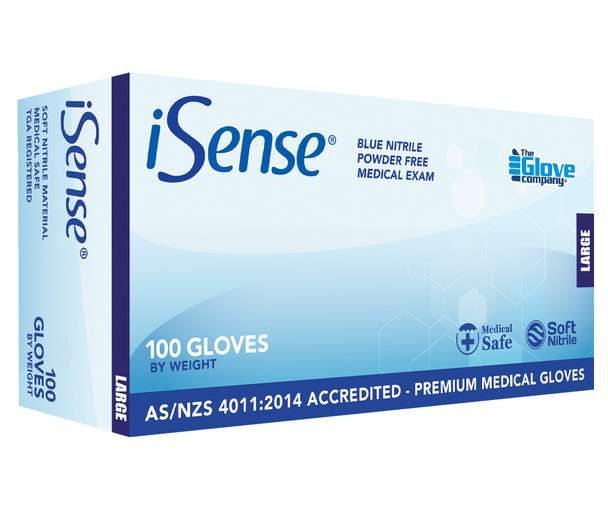 iSense® Blue Nitrile Powder-Free Disposable Gloves (Box of 100) - Available in Small/Medium/Large