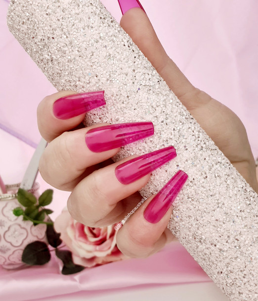 NEW Full Nail Cover Coffin Press On Soft Gel Nail Tips - PINK JELLY (Bag of 650PCS)