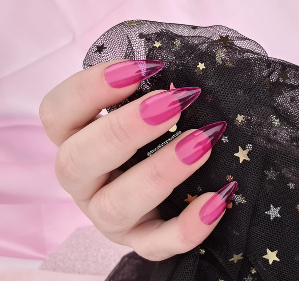 NEW Full Nail Cover Medium Stiletto Oval Cusp Press On Soft Gel Nail Tips - PINK JELLY (Bag of 504PCS)