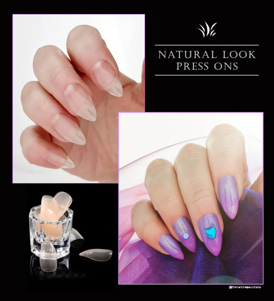 NEW Natural Look Nude Short Water Drop Cusp Full Cover Press On Nail Tips (Bag of 528)