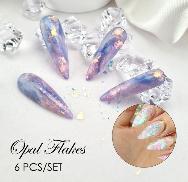 6PCS Opal Aurora Angel Nail Art Flakes ( Iridescent Flakes)