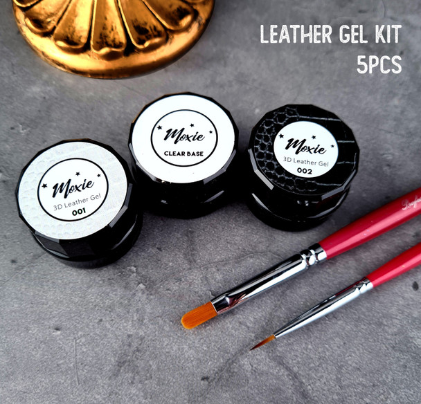 5PCS Moxie 3D Coloured Leather Nail Gel Kit (Includes FREE Filbert Gel Brush & Detailer Brush)