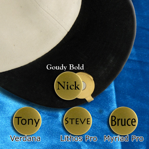 If you play golf, then this marker hat clip is just what you need! Keep all your ball markers in quick easy reach. The powerful magnet will ensure that your ball markers stay put. Each hat clip will come with 3 markers personalized with the name of your choice up to 8 letters. Choose from 1 of 4 fonts, Goudy Bold, Lithos Pro, Myriad Pro or Verdana. Packaged in a black velour pouch. As always, Made in the U.S.A.