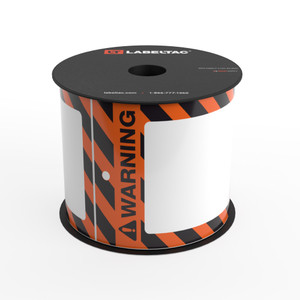 LabelTac® Warning Tag - Safety Orange and Black Stripes - Printable Tag Roll