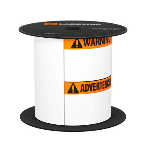 "LabelTac® 4 and Pro Model Die-Cut Warning/Advertencia Bilingual Supply - 4""x6"""