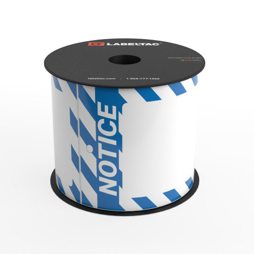 LabelTac®  Notice Tag - Safety Blue and White Stripes - Printable Tag Roll