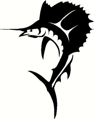 Outer Banks Sailfish Die Cut Decal in BLACK