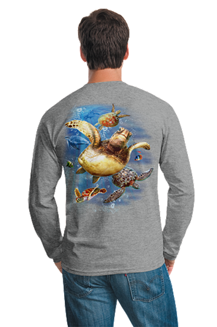 Sea Turtles Swimming Outer Banks Beach OBX Long Sleeved T-shirt