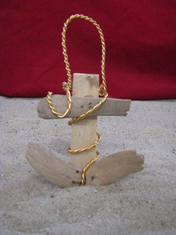 Driftwood Anchor Ornament Christmas Tree Outer Banks Beach Rustic Nautical Decor