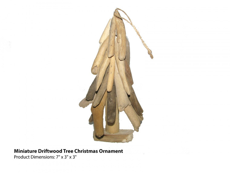 Miniature Driftwood Tree Christmas Ornament (front view)