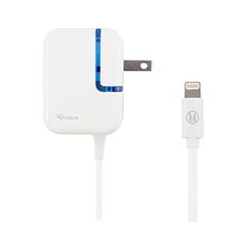 Uunique White 2.4A Lightning Wall Charger w/ fixed cable
