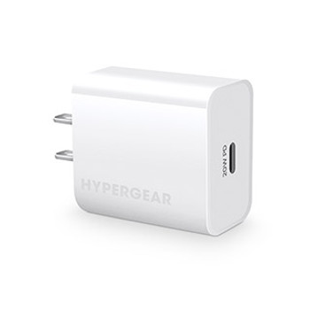 Perfect for the latest iPhone and Android devices, the HyperGear 20W USB-C PD Wall Charger is designed to fast charge 3X faster than an original 5W charger!The HyperGear 20W USB-C Wall Charger delivers a super-fast 20W PD output that will fast charge compatible phones from 0 to 50% in just 30 minutes! That's up to 3X faster than with an original 5W charger! It is perfect for the latest iPhone and Android smartphones and other power-hungry devices. Start charging faster today!