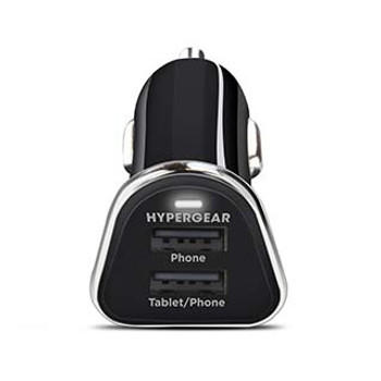 In need of a travel-friendly charger? The USB HyperGear Black 3.4A CLA Car Charger is a must-have with a dual USB design that is ideal for users with multiple devices.  With a premium low-profile construction, the USB HyperGear 3.4 CLA Car Charger can live in the car's power outlet without being noticed. The compact lightweight design, easily slips into a pocket or bag, making it a travel-friendly must-have for road trips and rental cars. Lightning-Fast ChargingEngineered to deliver 3.4A of rapid charging power to 2 devices simultaneously, it's perfect for power-heavy lifestyles. The top port is phone optimized, delivering a solid 1A, while the bottom port delivers a tablet-friendly 2.4A. You can simultaneously charge 2 phones or a tablet and a phone or GPS navigator at maximum speed. Universal CompatibilityCompatible with any USB-powered device, you can charge your favorite smartphones, tablets, cameras, Bluetooth headsets & speakers, gaming devices and more with ease. Auto Device RecognitionBoth ports are equipped with Smart Chip Technology that detects each device's power needs and automatically adjusts the output for the fastest and most efficient charging experience possible. World-Class Safety FeaturesEngineered with advanced circuitry and safety features that provide short-circuit & overcharge protection for safe and reliable charging. Guaranteed ReliabilityHyperGear products are performance tested and vetted through a rigorous quality inspection process to ensure reliability. HyperGear offers friendly customer service and a Limited One Year Warranty to the original purchaser that the product shall be free of defects in design, assembly, material, or workmanship.