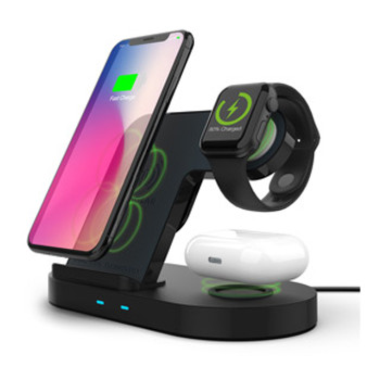 Stylish and compact, the 3-in-1 HyperGear Wireless Charging Dock is perfect for your tabletop, desk or nightstand and will effortlessly charge your everyday essentials in one convenient place. This 3-in-1 HyperGear Wireless Charging Dock is meticulously engineered to reduce the cable clutter and streamline your daily routine. Stylish and compact, it is perfect for your tabletop, desk or nightstand and will effortlessly charge your everyday essentials in one convenient place. Just place your Qi-enabled phone, AirPods® and Apple Watch® onto the charger for immediate, hassle-free power. This is charging made simple.Made for Qi-Enabled DevicesThis charger features 2 dedicated wireless charging surfaces and a watch stand that perfectly fits your magnetic Apple Watch charger, so you can say finally goodbye to the hassle of plugging and unplugging charging cables!Optimized for iPhone & Android Fast ChargeThe Qi-charging stand automatically adjusts between a 5W, 7.5W and 10W maximum output to ensure that your phone will receive the fastest charge possible. It can save you a full hour of total charging time!Dual Coil TechnologyThe stand is engineered with two built-in coils for a wider charging area, so you don't need to worry about precise placement— your device can easily charge in portrait or landscape. Perfect Viewing AngleYour phone and watch dock upright, keeping your hands free and your apps, notifications and videos at a convenient and glance-able level while charging. It's also perfect for Face ID and Nightstand mode.Ready for AirPods & MoreWhile designed with AirPods in mind, the charging pad was crafted with a flat surface for a wider range of device compatibility, giving users the freedom to wirelessly charge other devices such as an extra phone. Ready for the Apple WatchWith precise cutouts for the magnetic puck and integrated cable routing, your Apple Watch charging cable will slot neatly and seamlessly into the dock. No more exposed, dangling or tangled cables