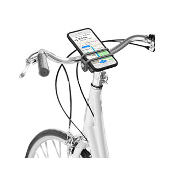 The HandleBand Universal Smartphone Bar Mount allows you to securely attach most phones to handlebars for easy viewing and use while on the go.   The HandleBand Universal Smartphone Bar Mount allows you to securely attach even the largest smartphones, with or without cases, to a handlebar so that you can easily see and access your devices while riding, walking, or running.   Made from lightweight expandable silicone with an aluminum base at its core, the single band securely wraps around nearly any sized bar - including bicycles, jogging strollers, and shopping carts. The split-strap design holds phones securely while making it easy to see your maps, apps, and more. Bonus: it functions as a bottle opener, too!