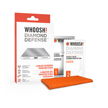 Take screen protection to a whole new level with WHOOSH! Diamond Defense™ – an innovative liquid coating that provides superior scratch resistance to your screen to keep it looking like new.       The WHOOSH! Diamond Defense™ features a liquid formula that makes screen glass up to 15X stronger than an untreated screen. Since it's a liquid screen protector, Diamond Defense™ works on all smartphones and is especially great for curved screen devices, plus it also works on tablets, smartwatches and laptops. Also, there's no need to worry about bubbles on your screen since Diamond Defense™ does not add a layer of plastic or glass on your screen.   How it Works Diamond Defense™ creates a strong, hydrophobic, nano-thin coating on your devices screen that cannot be seen or felt. As it bonds with the glass, it fills in millions of micro-holes achieving a stronger, more durable surface which forces particles that come in contact with the screen to bounce or slide off the invisible coating.   How to Apply Diamond Defense™  Appling Diamond Defense™ is simple (See installation video below). 1. First, use the WHOOSH! Clean Screen Wipe to clean the screen then polish the screen with the included W! Microfiber Cloth. 2. Next, use the WHOOSH! Diamond Defense™ wipe evenly on your screen for about 30 seconds. 3. Allow 5 minutes for drying time. 4. Buff & shine with the W! Microfiber Cloth.