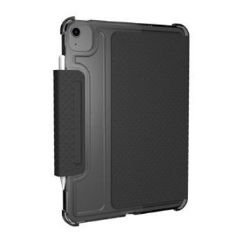 The UAG Lucent case. Stylish and sophisticated with a translucent body and contrasting dot pattern folio cover/stand.  Essential for working from home, the office, or on the go. The UAG Lucent case is strong and beautiful with an impact-resistant featherlight design leaving your device fully protected and stunning.