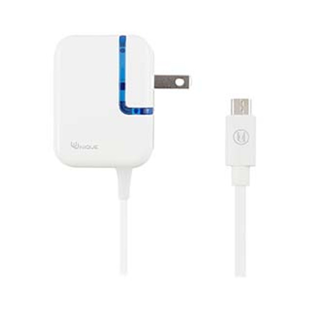 Uunique White 2.4A Micro USB Wall Charger w/ fixed cable (bulk)