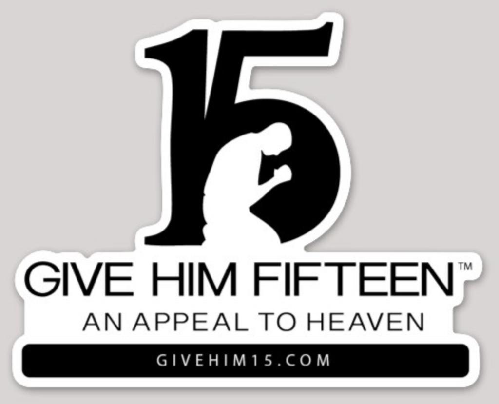 Give Him 15 car sticker