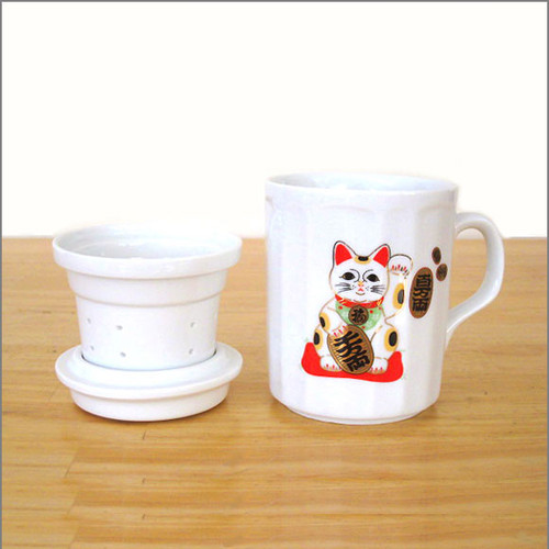 Porcelain Tea Infuser Mug - Cat
