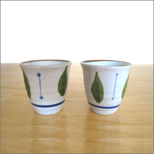 Japanese Tea Cups (Set of 2) - Leaves