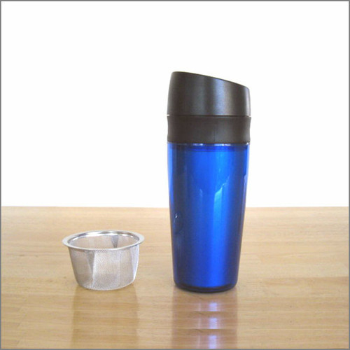 Spill-Proof Travel Tea Filter Mug - Blue