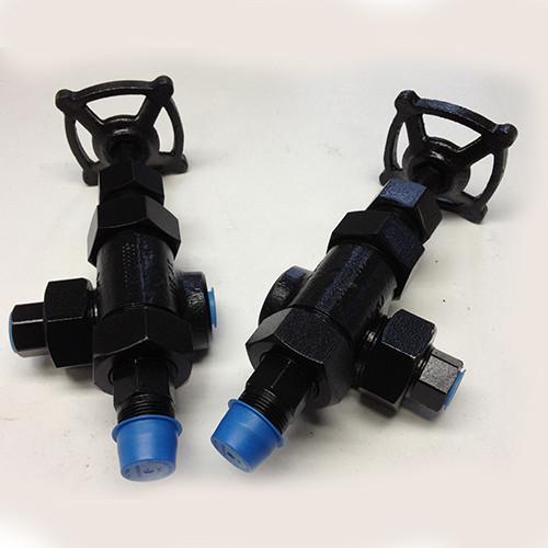 "Jerguson Model 67 Valve Set, 3/4""MNPT (vessel) x 1/2""FNPT (gage) x 1/2""FNPT (vent/drain), A105 Carbon Steel Body x 316/316SS Trim (Internals) - 67 1 518/519A"